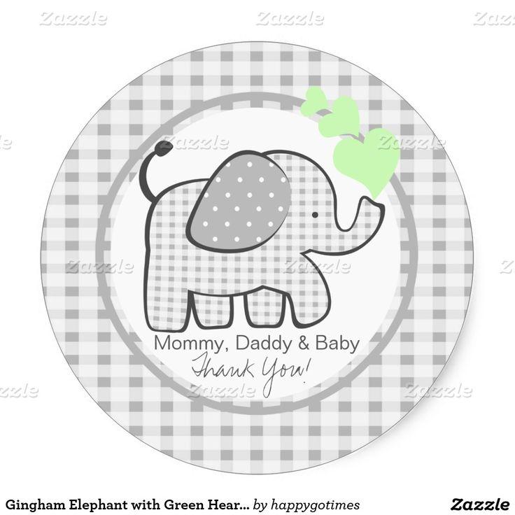 Elefante do guingão com corações verdes adesivo