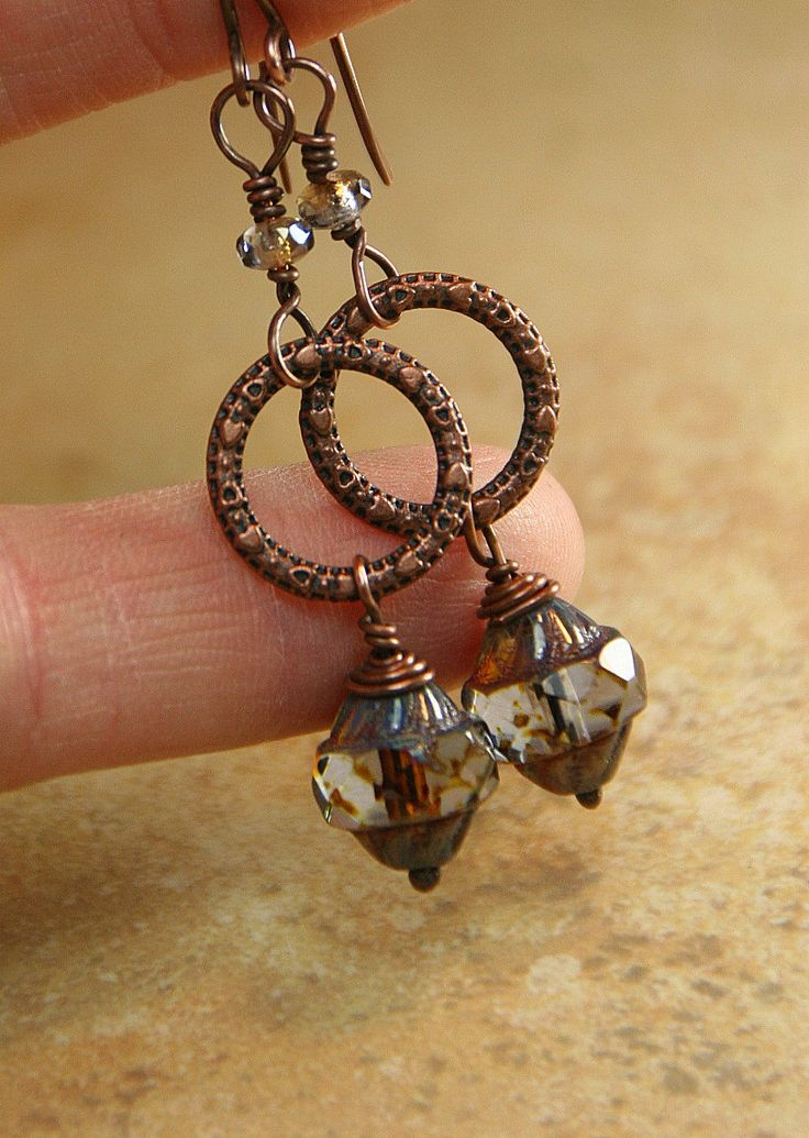Ring of Hearts Copper and Czech Glass Beaded by AllowingArtDesigns, $16.00