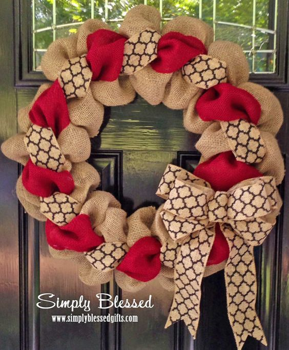 Red and Black Chevron or Quatrefoil Burlap Wreath 22 inch for front door or accent - Georgia, South Carolina, Texas Tech,: