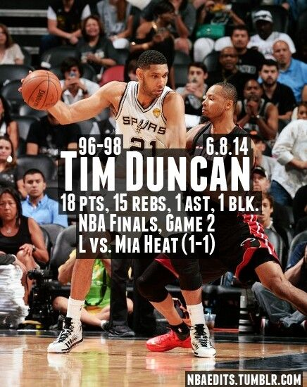 Spurs Tim Duncan Stats from Game 2 of the 2014 NBA FINAS VS. THE HEAT.