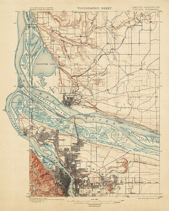 Finely detailed, archival reproduction of an historic USGS topographic map of Portland, Oregon and Vancouver, Washington printed on acid-free,