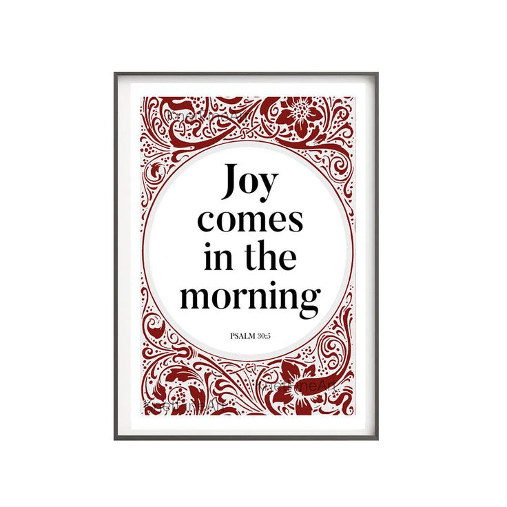 Joy comes in the morning, Instant download, Psalm 30:5, Religious quote, Christian quote, Bible verse printable de KnetFineArt en Etsy