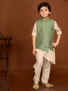 cba6c43235 Olive And Cream Waistcoat Set, Boys Indian Wear, boys ethnic wear, boys  party