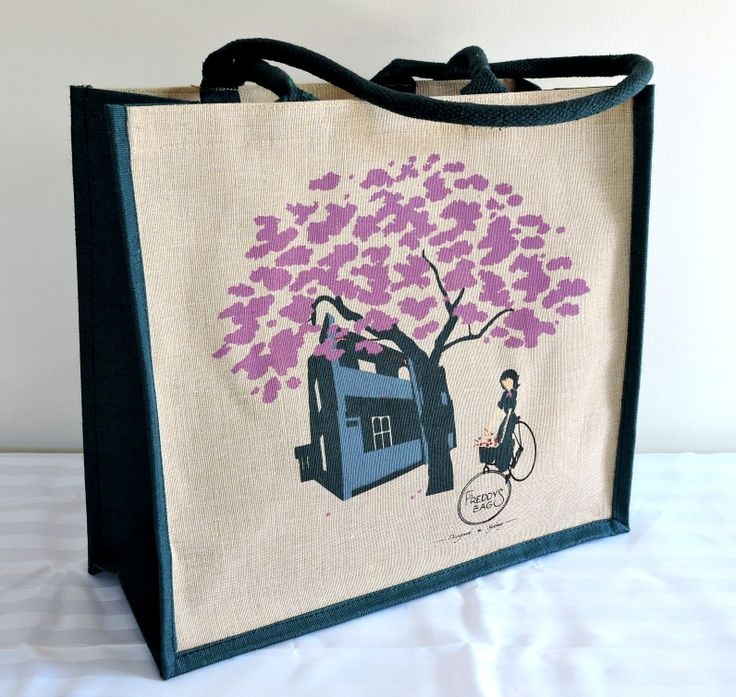 Jacaranda Tree -  This vibrant lilac bloom adds so much character to the Sydney streetscape.  It usually blooms in early November, heralding the start of long summer days.  39 x 36 x 18cm natural jute cotton (juco) material, dark green cord handles and gusset