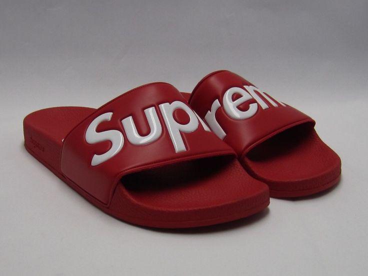 SUPREME SANDALS SLIDES FLIP FLOP 9 SS14 BOX LOGO RED DS NEW SOLID #Supreme #Sandals