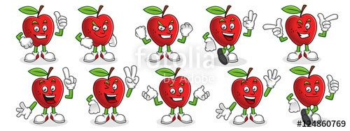 "Download the royalty-free vector ""Vector set of Apple character, apple mascot. "" designed by ednal at the lowest price on Fotolia.com. Browse our cheap image bank online to find the perfect stock vector for your marketing projects!"