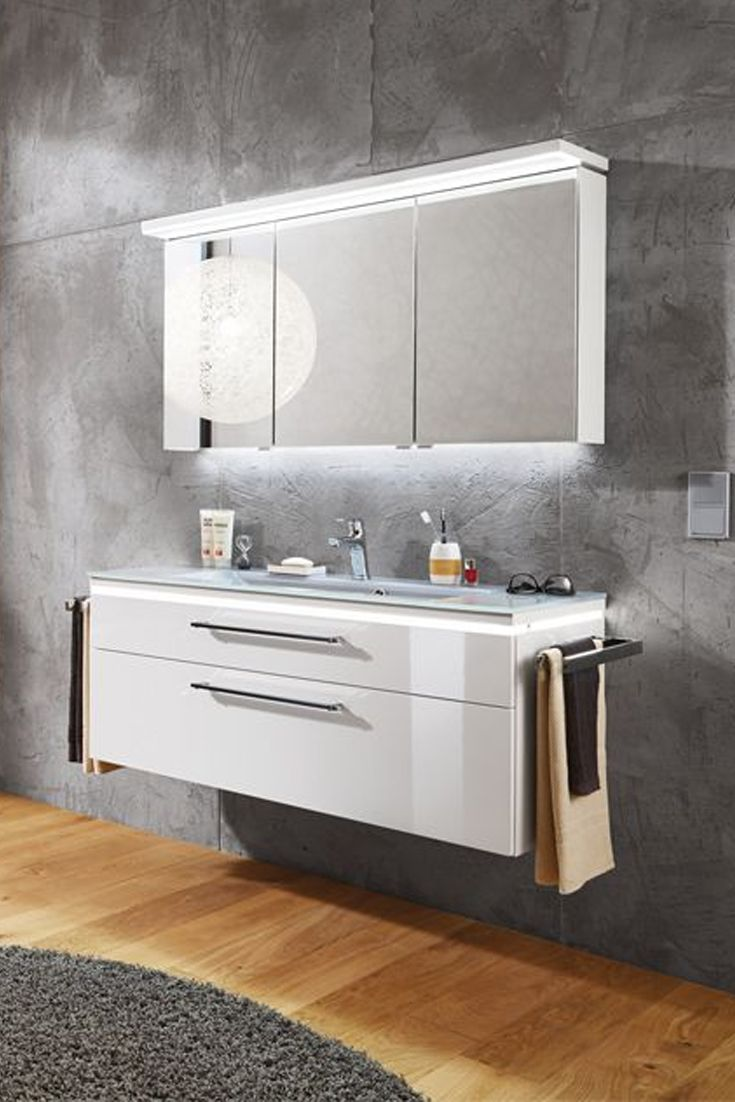 Puris Badezimmer Cool Line In Weiss Hochglanz Vanity Double Vanity Bathroom