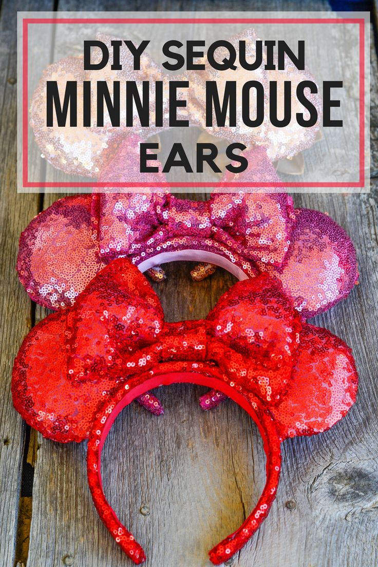 Looking to make your own Disney Sequin Minnie Mouse Ears? I have a step by step tutorial for you! Plus a FREE Pattern! Only at Pinkcakeplate.com via @Pinkcakeplate