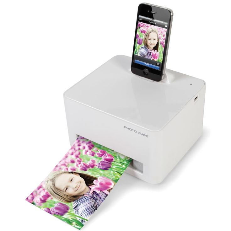 The iPhone Photo Printer - a compact, portable printer that produces photo quality pictures directly from a docked iPhone 4 or iPod touch.  With adapter, works with iPhone 5, Android phones, and iPads