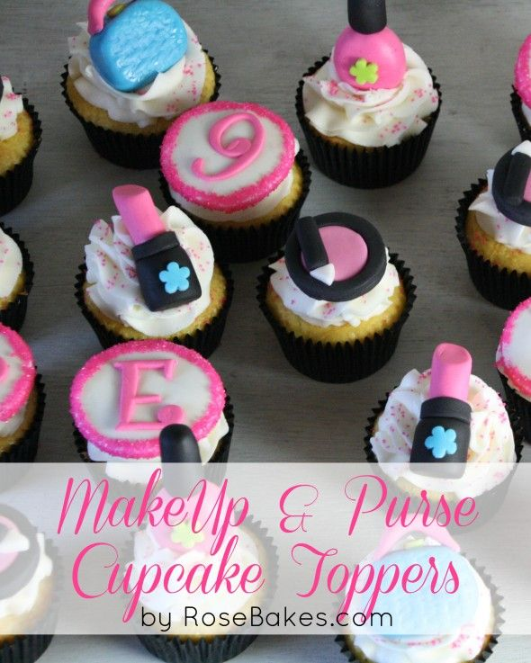 Make-Up & Purse Cupcake Toppers - click over for closeup pics by RoseBakes.com.