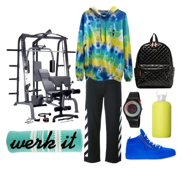 """I workout"" by kaleidoscopekidco on Polyvore featuring Off-White, Giuseppe Zanotti, bkr, Swatch, NOVICA and M Z Wallace"
