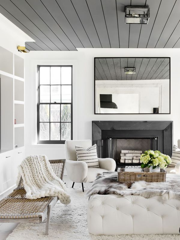 Living room with a minimal color palette