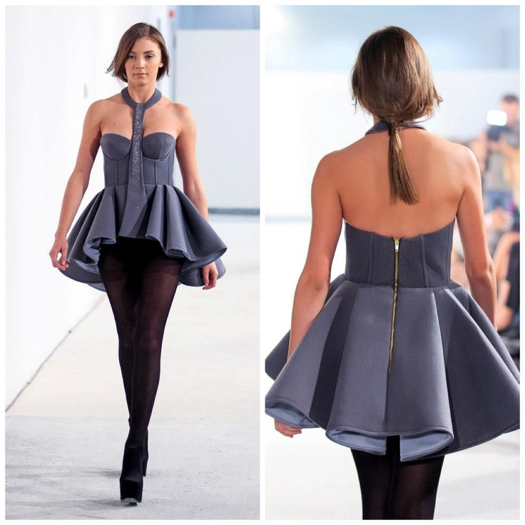 Grey neopren Peplum with neck harness @ FE[MALE]
