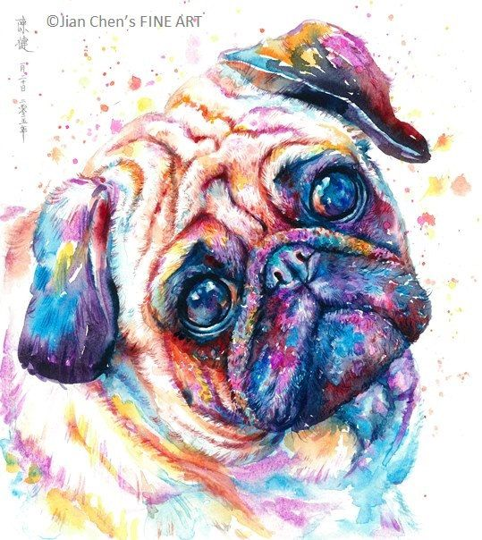 a pug by JianChensFINEART on Etsy