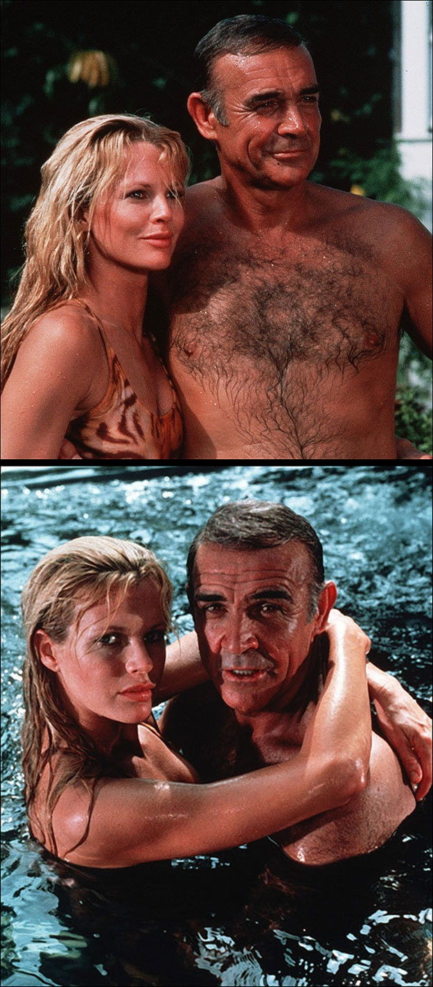 Sean Connery as 'James Bond' & Kim Baysinger as 'Domino Petachi' in Never Say Never Again (1983)