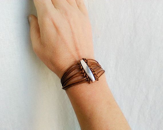 Leather cuff bracelet for women Leather wrap by myTotalHandMade