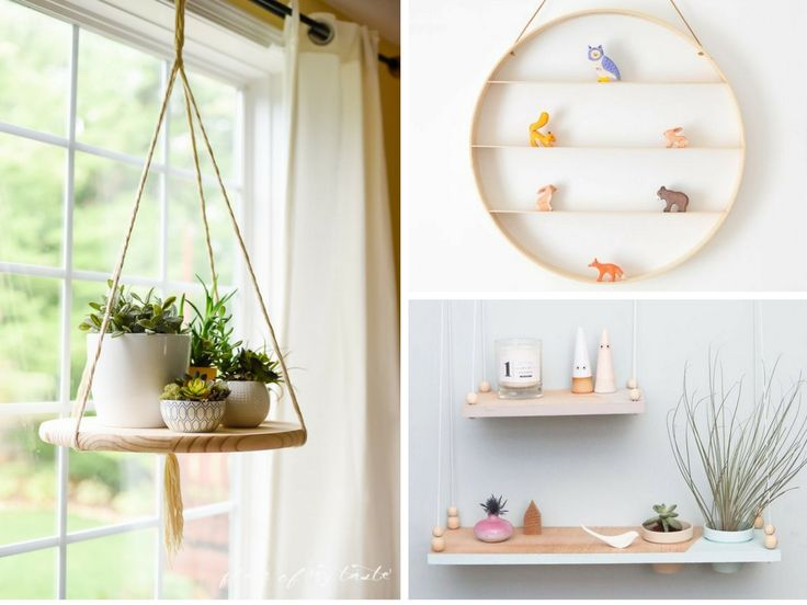 These adorable DIY hanging shelves are unbelievably inexpensive and easy to make. Options for rustic, minimalist, bohemian, modern, or kid's room decor.