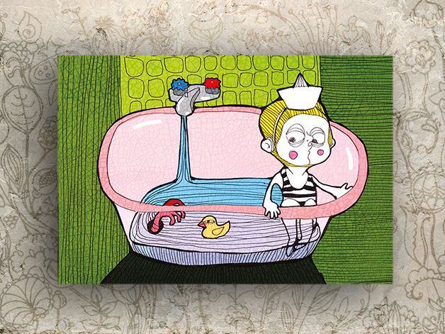 """Illustration """"Badewanne"""" von Granatapfel - Onlineshop mit Illustriertem. auf DaWanda.com"""