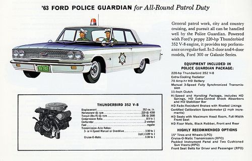 1963 Ford Police Guardian Police Car #60s #Police