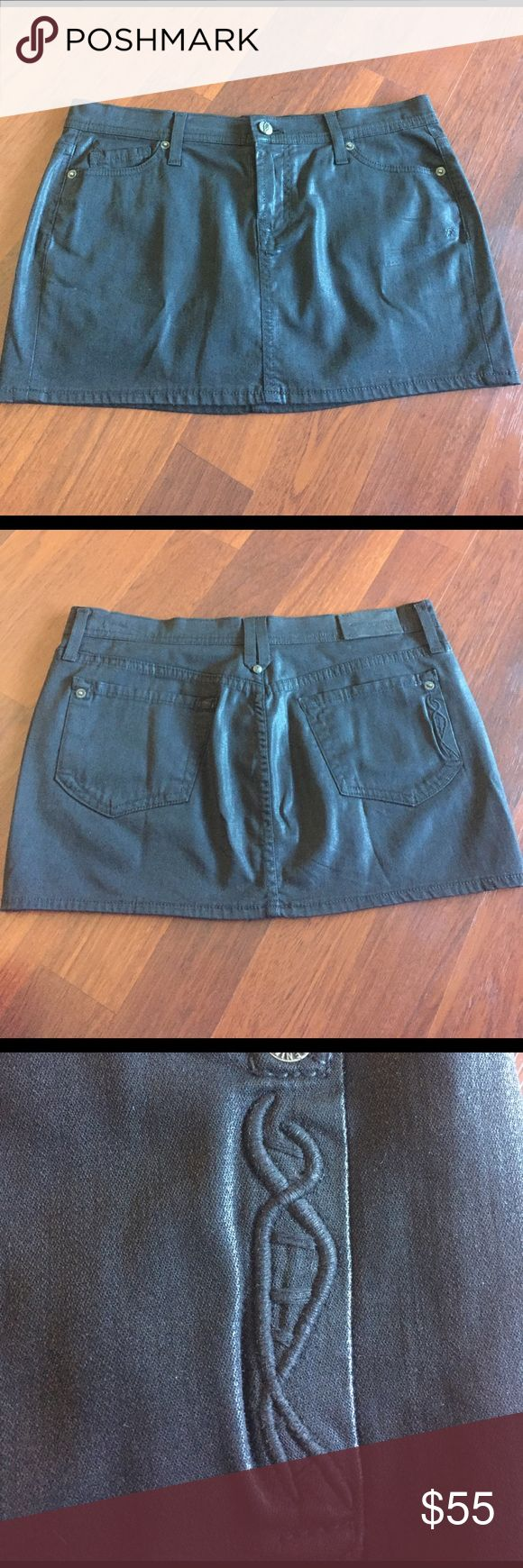 "NWOT Genetic Denim Black waxed coated leather mini NWOT Genetic Denim Wax coated Black leather mini skirt. 27"" waist. 12"" length. 98% cotton 2% poly. Has a wax coated feel. Super hot. Genetic Denim Skirts Mini"