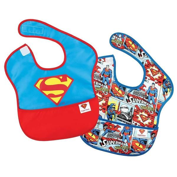 It's a bird, it's a plane, it's Bumkins DC Comics Superman bibs! Made from Bumkin's lightweight, easy wipe, and machine washable waterproof fabric, the Bumkins DC Comics Superbib is both comfortable and durable. Sized to fit ages 6 to 24 months, these bibs feature a back shoulder Velcro closure for a quick, adjustable and tug-proof fit. With a handy catch-all pocket for containing spills, this bib is a great addition to any mealtime!