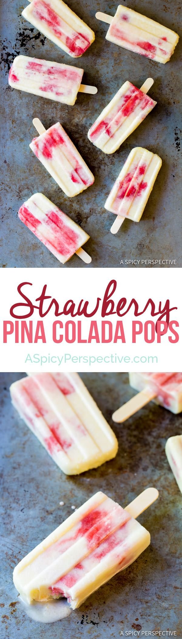 4-Ingredient Strawberry Pina Colada Popsicles http://www.aspicyperspective.com/strawberry-pina-colada-popsicles/2