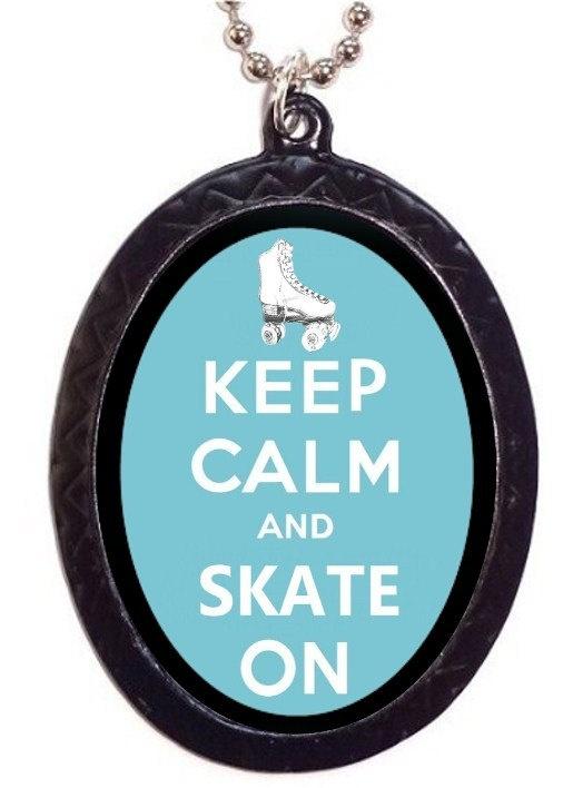 Keep Calm and Skate On Roller Skating Roller Derby Necklace Pendant. $7.00, via Etsy.