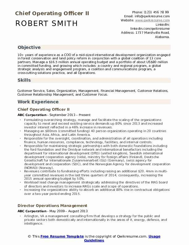 Chief Operating Officer Resume Best Of Chief Operating Ficer Resume Samples