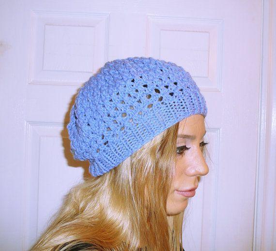 Blue beanie light knit hat custom color beanie by HandmadeTrend