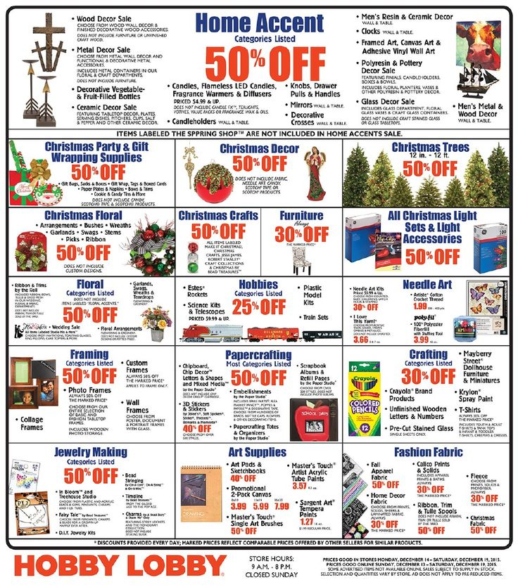 Hobby Lobby Weekly Ad December 13 - 19, 2015 - http://www.olcatalog.com/grocery/hobby-lobby-weekly-ad.html