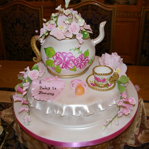 This Adorable Teapot Is Actually A Cake It Was Made For Baby Shower And Tea Party