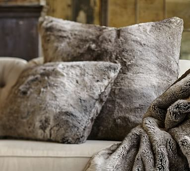 Thinking about this for the couch to help go with the grey wall.  Faux Fur Pillow Cover - Gray Ombre #potterybarn