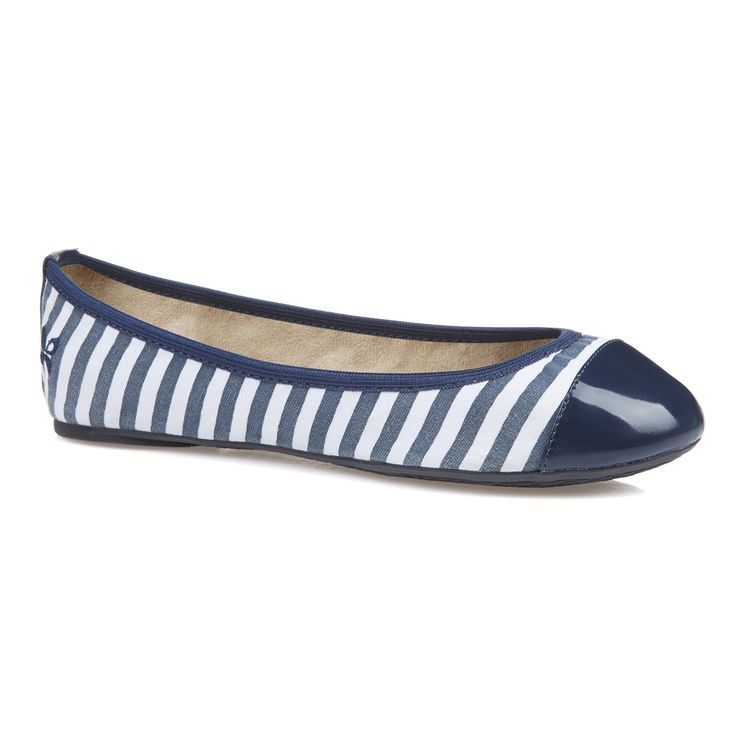 Butterfly Twists Kate Navy and White Stripes Ballet Pumps