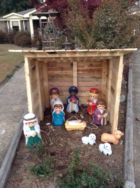 Nativity stable made from  pallets
