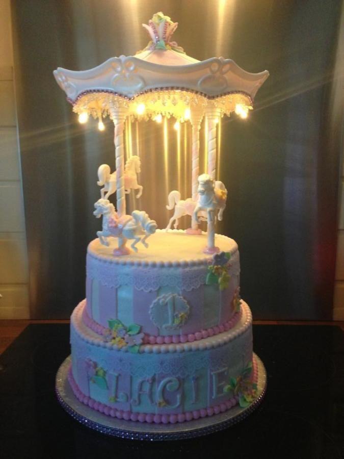 carousel cake with lights