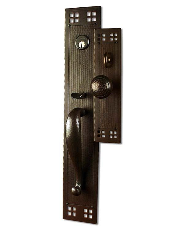Exceptional Arts And Crafts Style Hand Crafted Copper Large Entry Sets (Exterior Door  Hardware) :