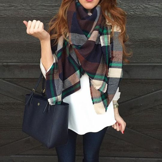 Plaid scarf & Tory Burch bag