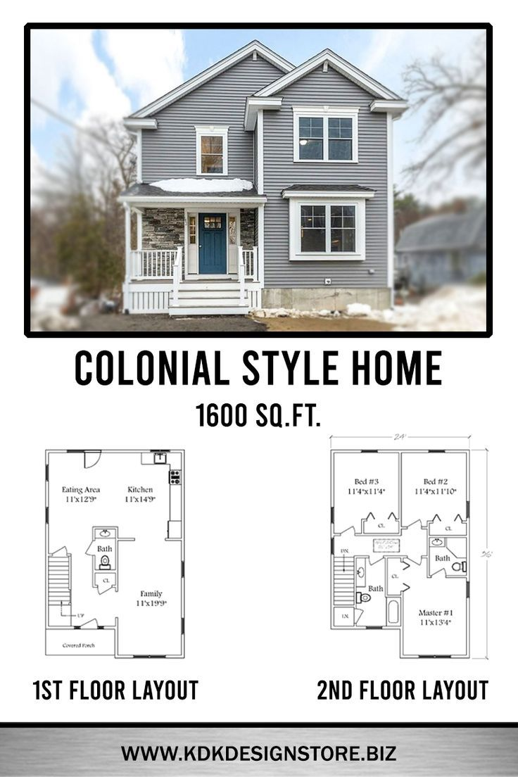 1608 Sq Ft Colonial Home Kdk Design Inc Colonial House Plans Small House Floor Plans Colonial House Exteriors