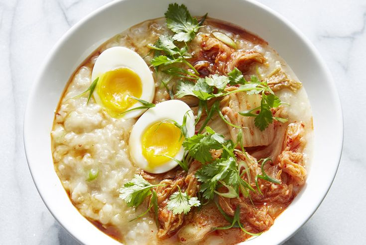 Brown Rice Congee with Kimchee, Scallions, and 7-Minute Eggs Recipe | Real Simple