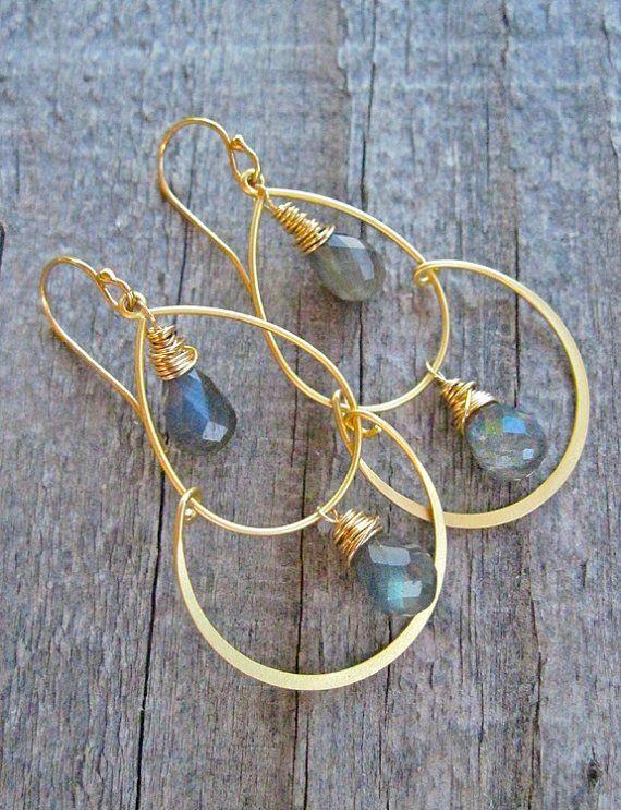 Labradorite Gold Dangle Earrings Wire Wrapped Gold Hoop Earrings with Gray Gemstone, Double Hoop Chandelier Earrings