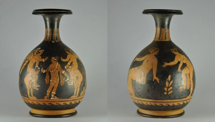 Greek games, Ephedrismos on Paestan bottle, 340 B.C. Greek games, Ephedrismos on Paestan bottle, Paestan red figured painted bottle from painter of Naples 1778, unpublished, attribuited by Prof. Ian MacPhee, 19.3 cm high. Ephedrismos was game where a target  on the ground is to be hit with a rock or a ball, the loser had to carry the winner, who covered the loser's eyes, on his back until he touched the target with his foot. Private collection