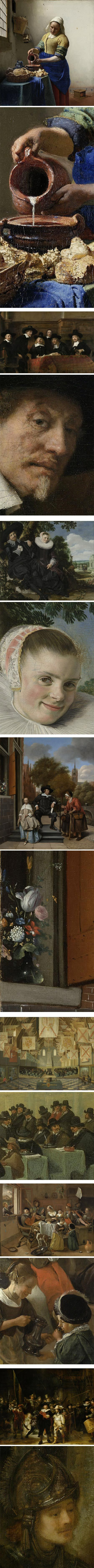 Rijksmuseum's selection for US President's visit:  Includes among other -  The Milkmaid by Vermeer c.1660, Portrait of a Couple, by Frans Hals, c. 1622, The Wardens of the Amsterdam Drapers' Guild, Known as 'The Syndics', by Rembrandt c. 1662, Night Watch also by Rembrandt c.1642.