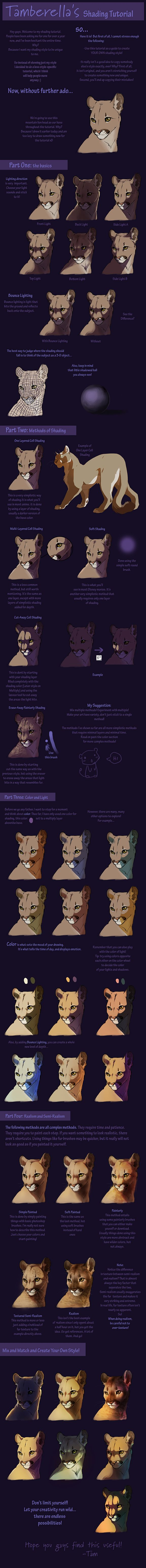 Giant Shading Tutorial by *TamberElla on deviantART This is mostly how I shade too. I recommend looking if you're a digital artist looking for help! :)