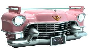 Elvis Resin Pink Cadillac 3D Front Wall Shelf with Lights - Click on image to enlarge