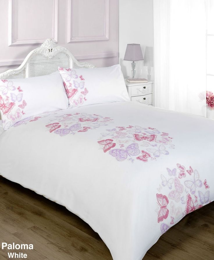 Details about PALOMA WHITE PINK AND LILAC BUTTERFLY DUVET COVER BEDDING SET