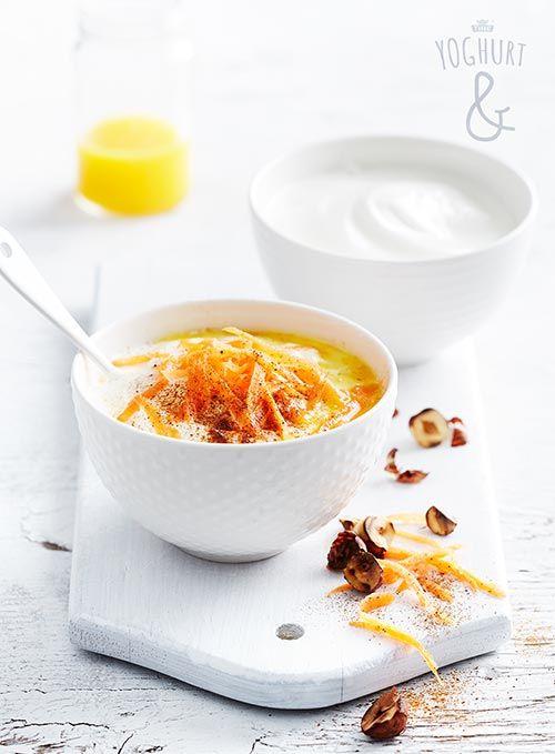 Gulrot & Kanel & hasselnøtter & Honning & Sunniva appelsinjuice - Se flere spennende yoghurtvarianter på yoghurt.no - Et inspirasjonsmagasin for yoghurt.