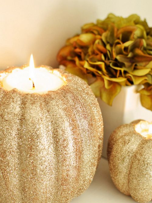 use fake pumpkin so it lasts longer and insert flameless candle. would love to make these in a different color for wedding reception. xo