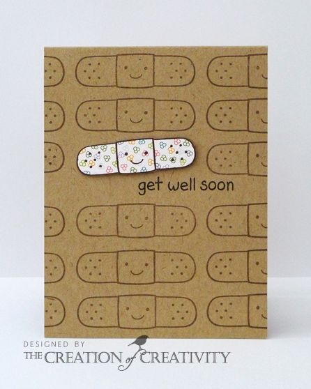 handmade get well card ... kraft ... one-layer ... happy face bandaid stamped all over ... one paper pieced in white ... cute!!