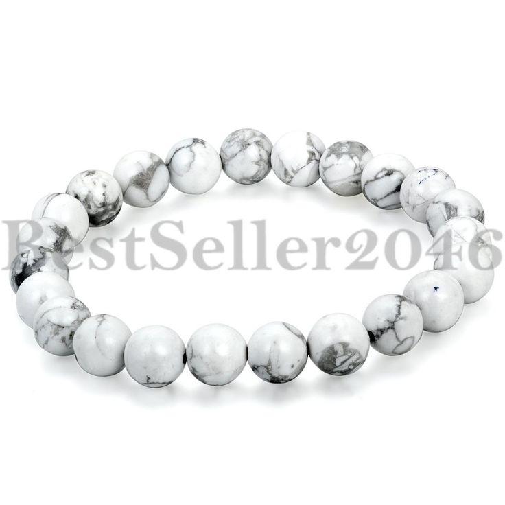 Buddha Armband Armreif Energie Natur Stein Weiß Gebet Lava Mala Kugel Perlen