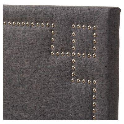 Geneva Modern And Contemporary Fabric Upholstered Headboard - Queen - Dark Grey - Baxton Studio